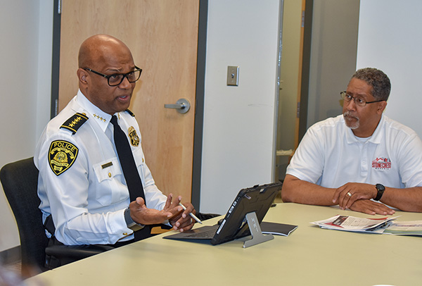 Keith Meadows, (South Fulton Police Chief) and Mayor Jason Lary, City of Stonecrest